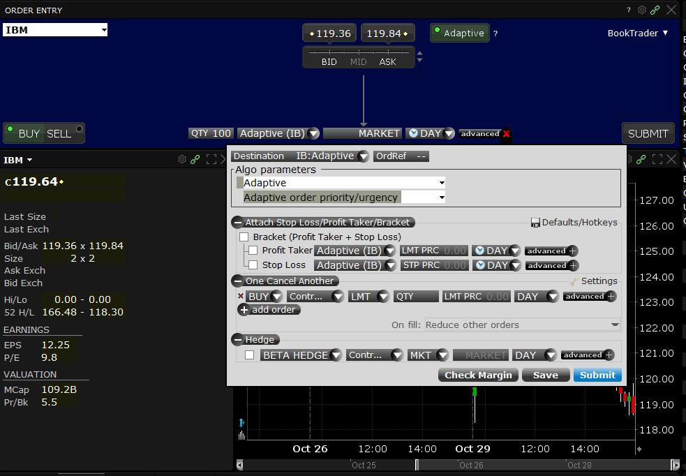 Interactive Brokers review - Desktop trading platform - Order panel