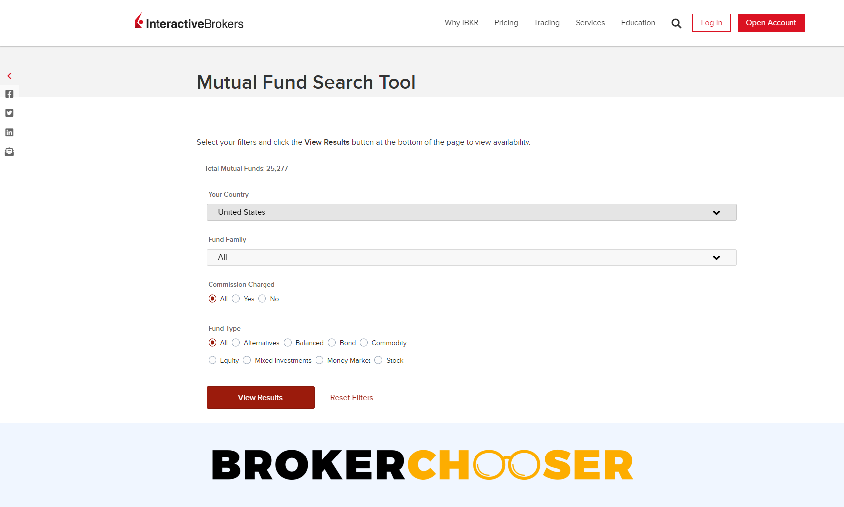 Interactive Brokers review - Research - Mutual Fund Search