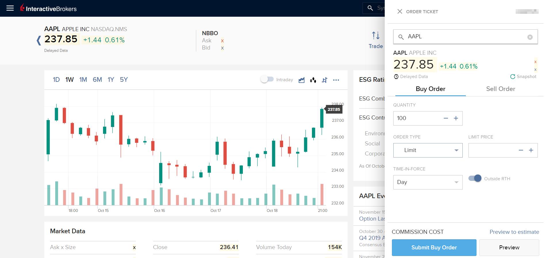 Interactive Brokers review - Web trading platform - Order panel