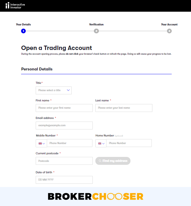 Interactive Investor review - Account opening