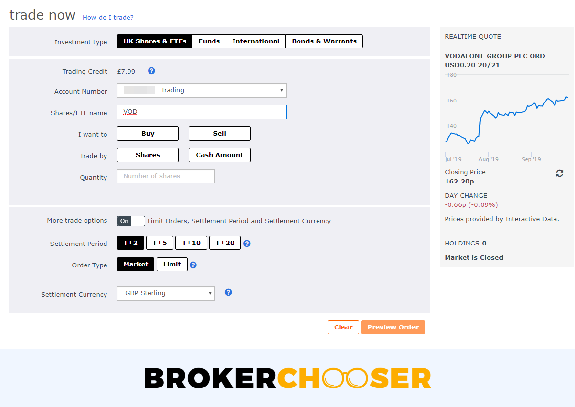 Interactive Investor review - Web trading platform - Order panel