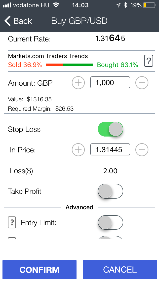 Markets.com review - mobile trading platform - Order panel