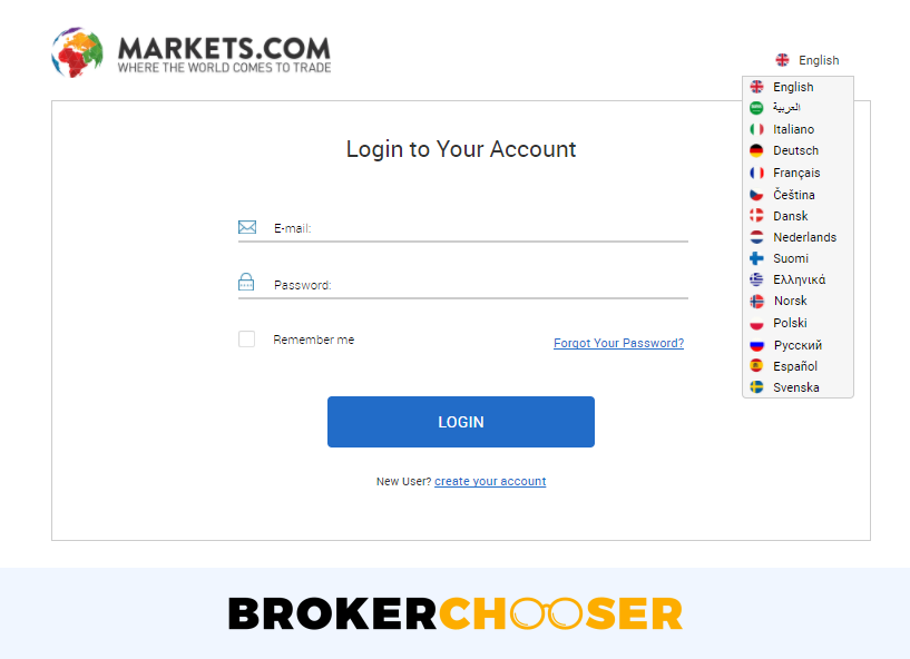 Markets.com review - Web Trading platform - Login