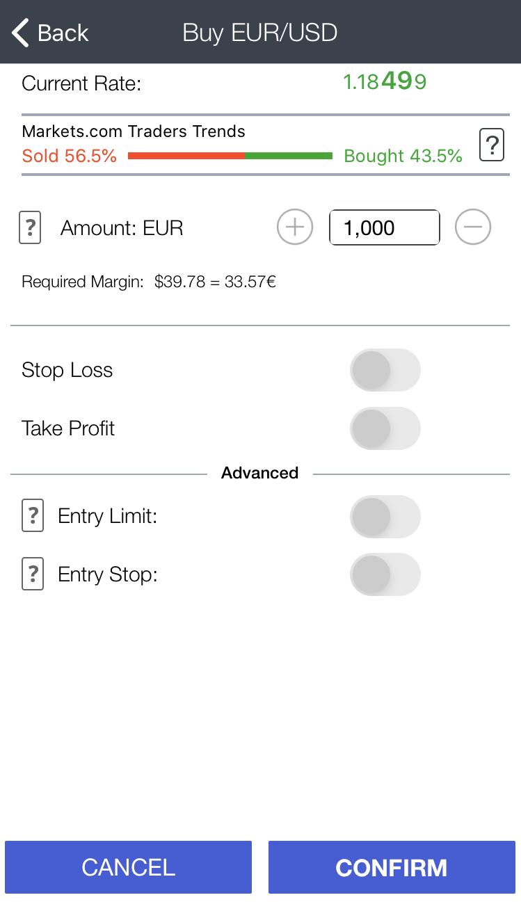 MARKETSX review - Mobile trading platform - Order panel