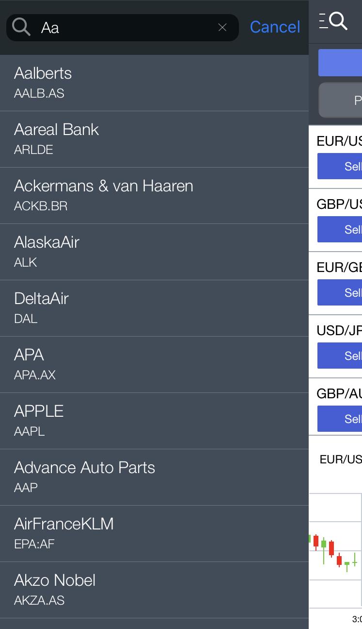 Markets.com review - Mobile trading platform - Search
