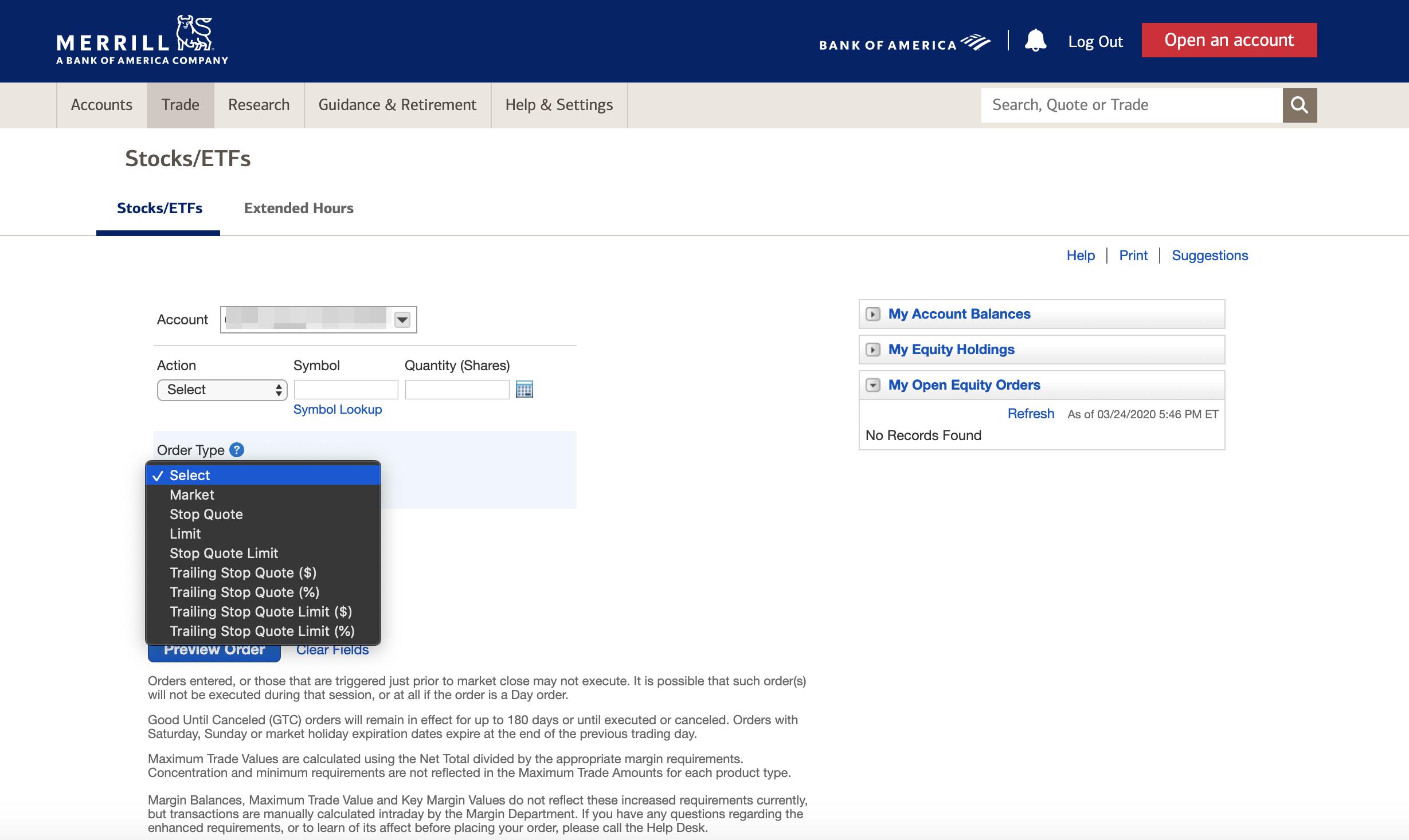 Merrill Edge review - Web trading platform - Order panel