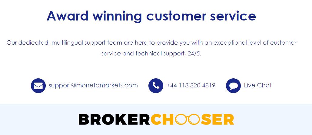 Moneta Markets review - Customer Service