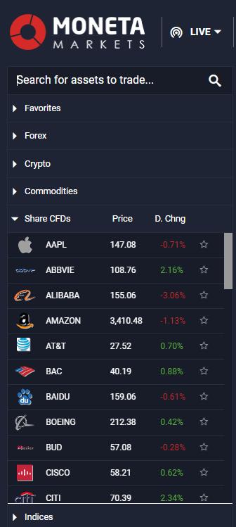 Moneta Markets review - Web trading platform - Search
