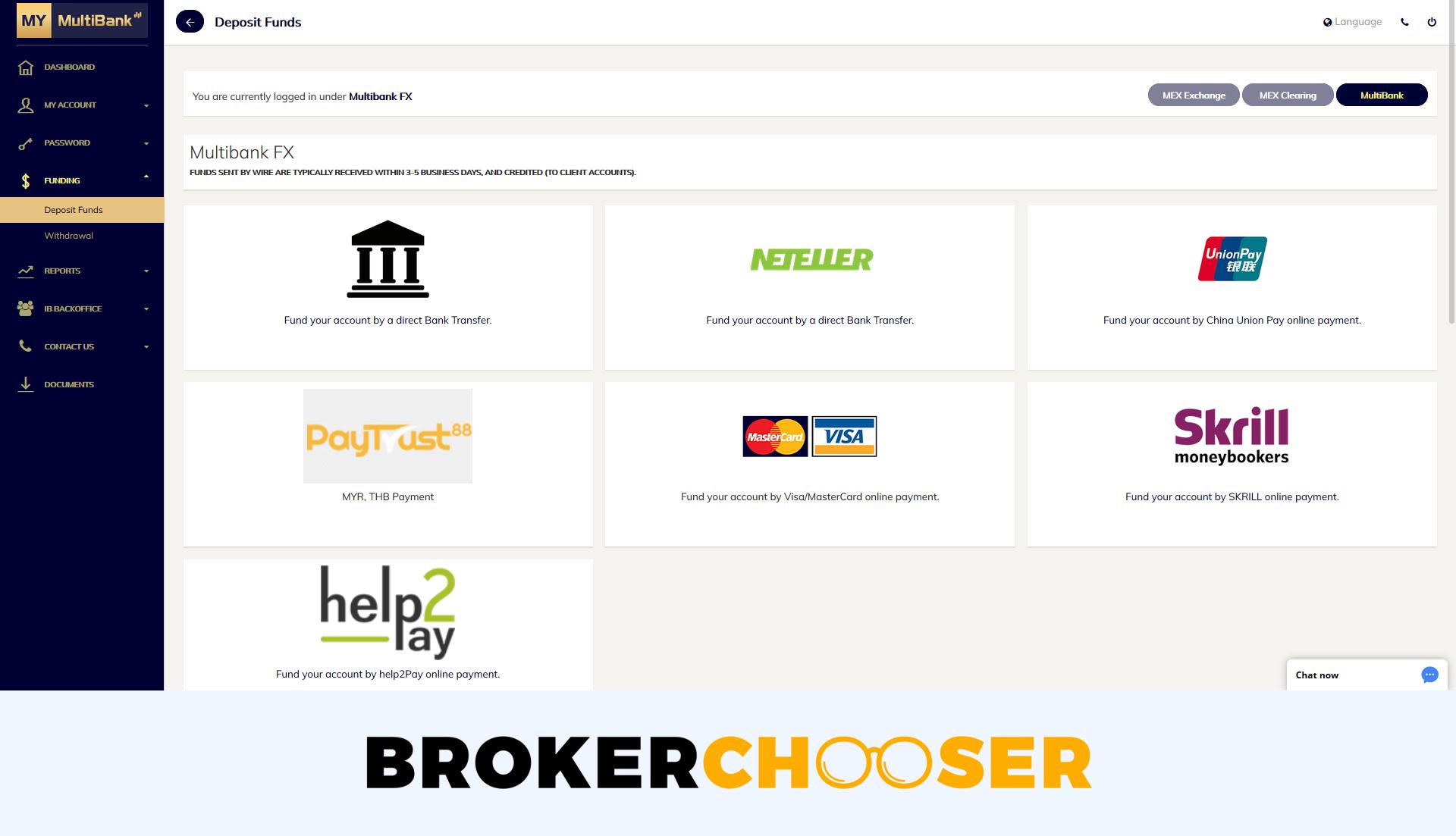 MultiBank review - Deposit and withdrawal - Deposit