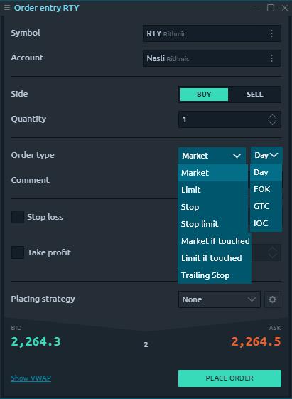 Optimus Futures review - Desktop trading platform - Order panel
