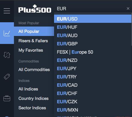 Plus500 review - Web trading platform - Search