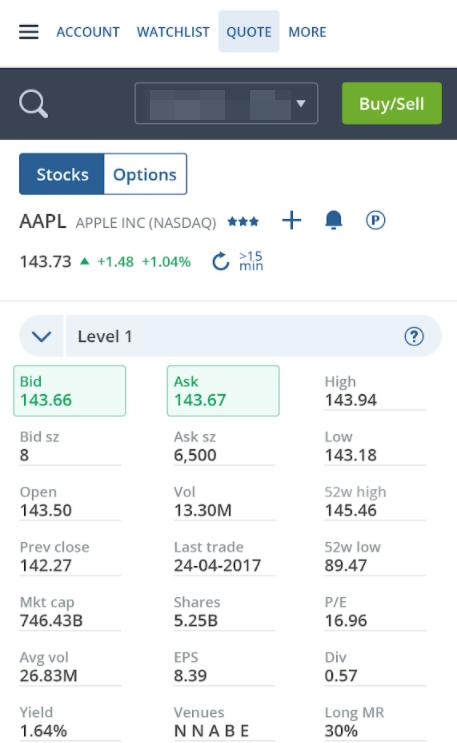 Questrade review - Mobile trading platform