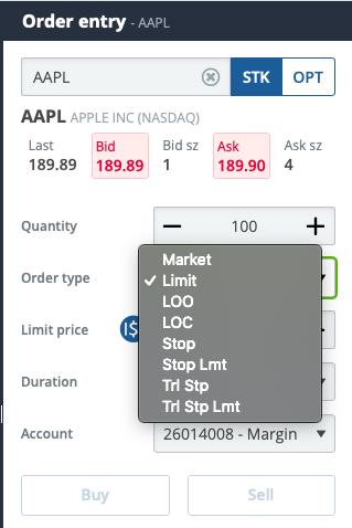Questrade review - Web trading platform - Order panel