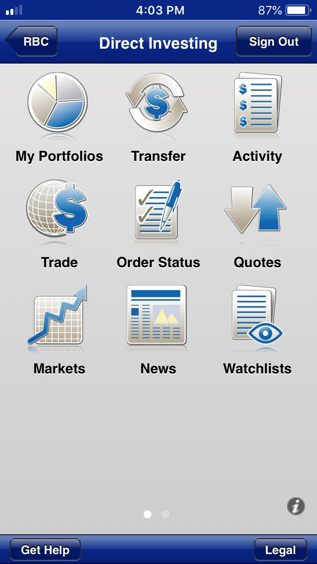 RBC Direct Investing review - Mobile trading platform