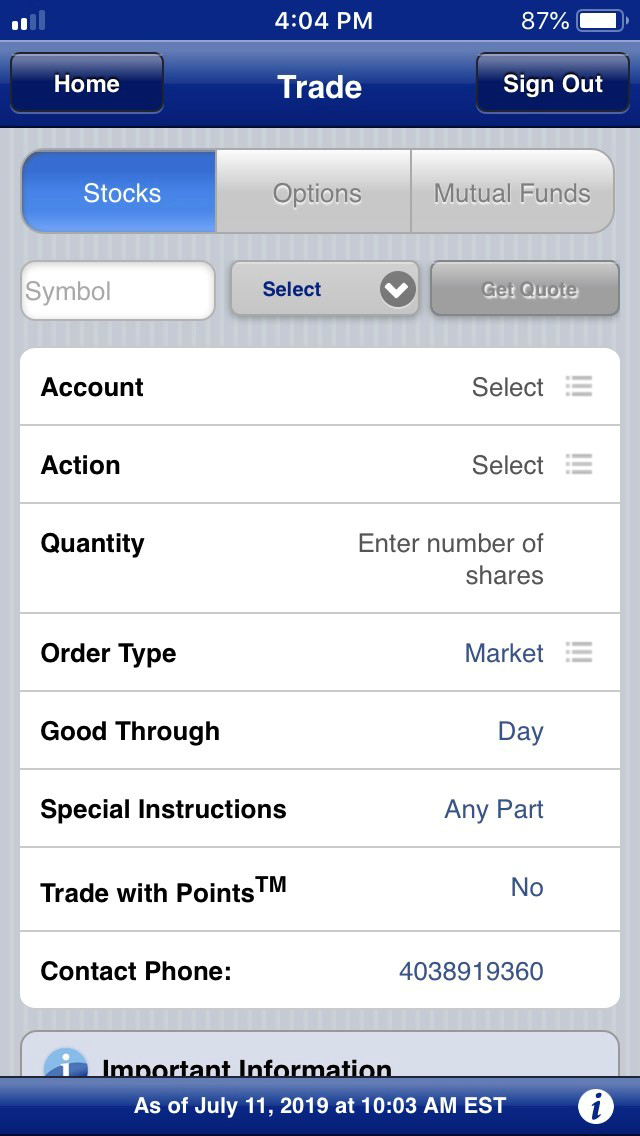 RBC Direct Investing review - Mobile trading platform - Order panel