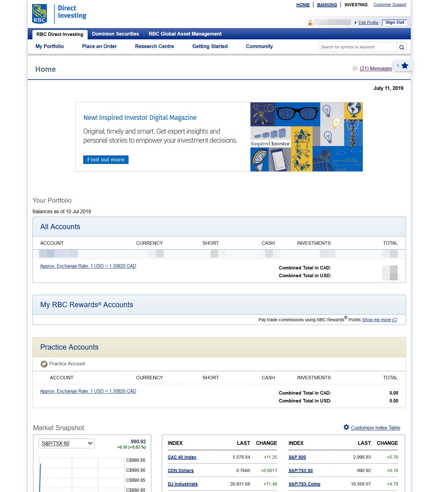 RBC Direct Investing review - Web trading platform