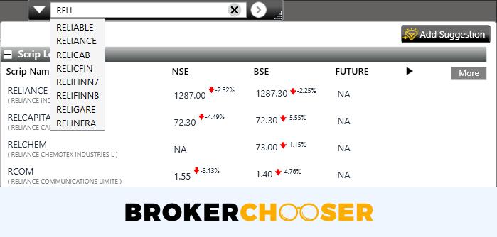 Sharekhan review - Desktop trading platform - Search
