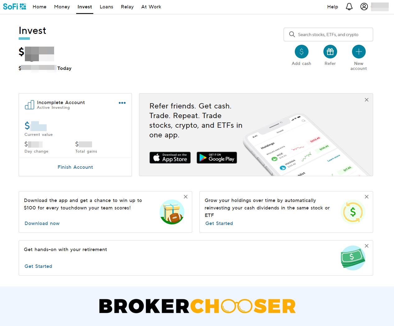 SoFi Invest review - Web trading platform