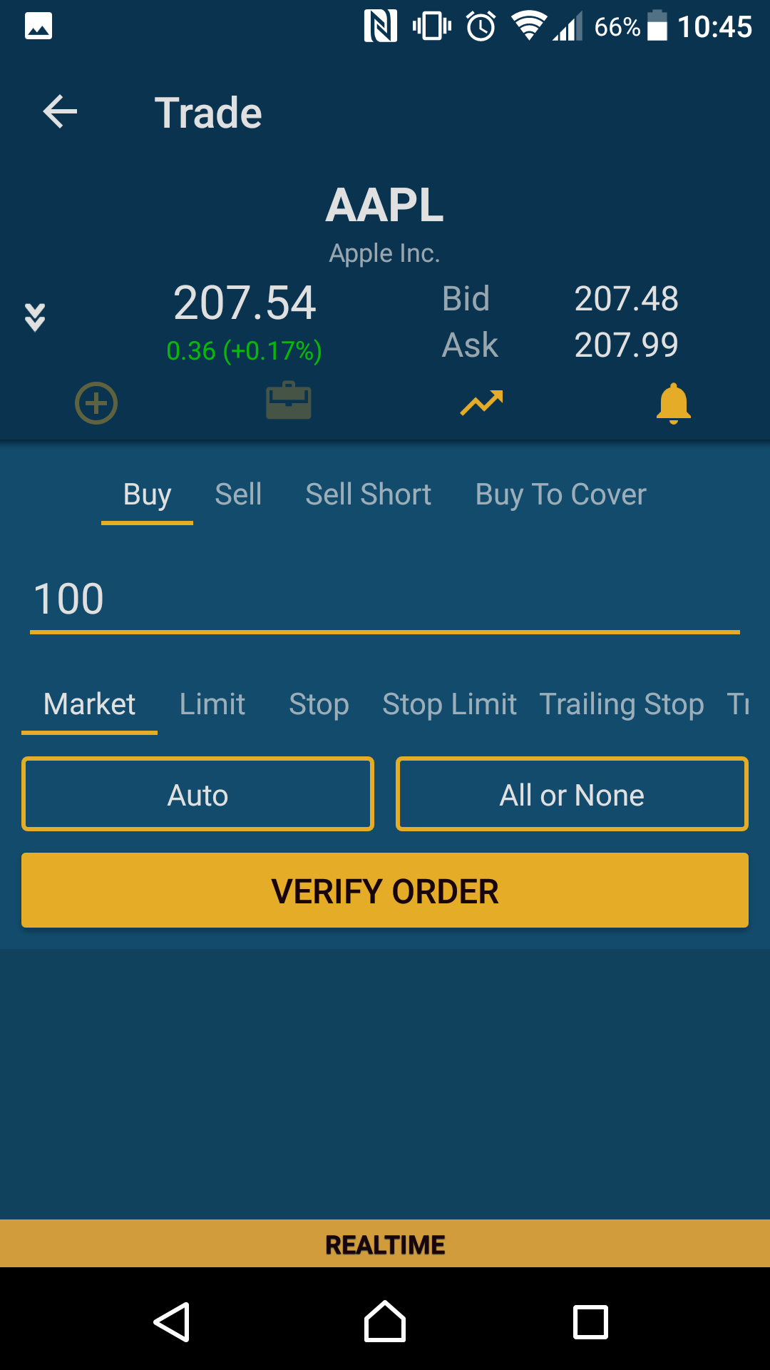 SogoTrade review - Mobile trading platform - Order panel
