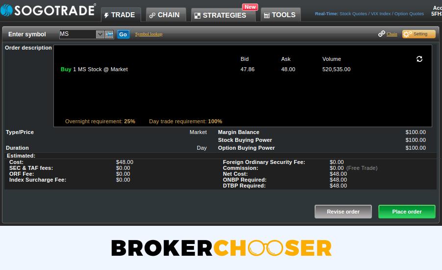 SogoTrade review - Web trading platform - Order panel