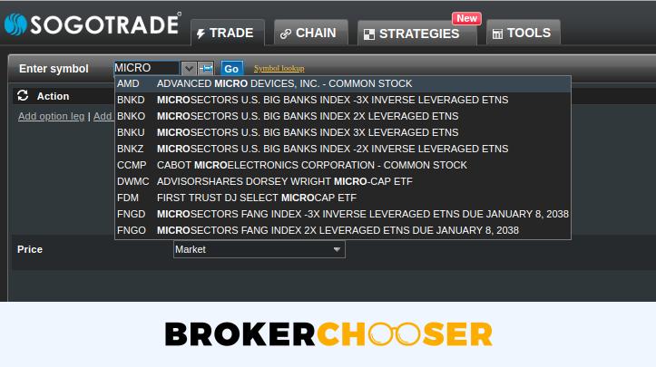 SogoTrade review - Web trading platform - Search