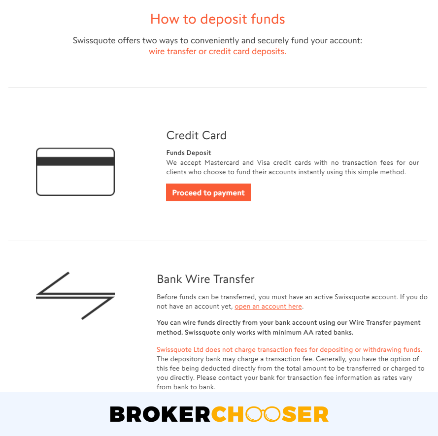 The interface to send the minimum deposit to Swissquote