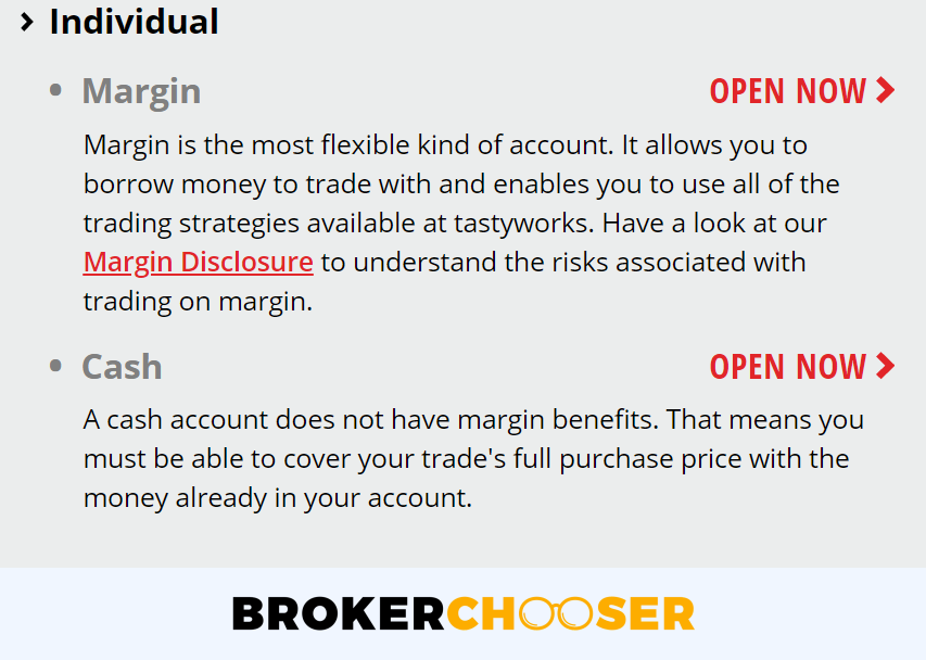 Tastyworks review - Account opening - Account types