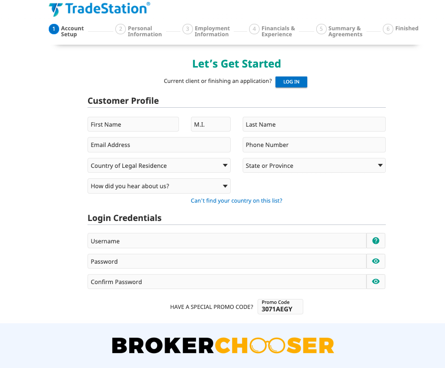 TradeStation review - Account opening