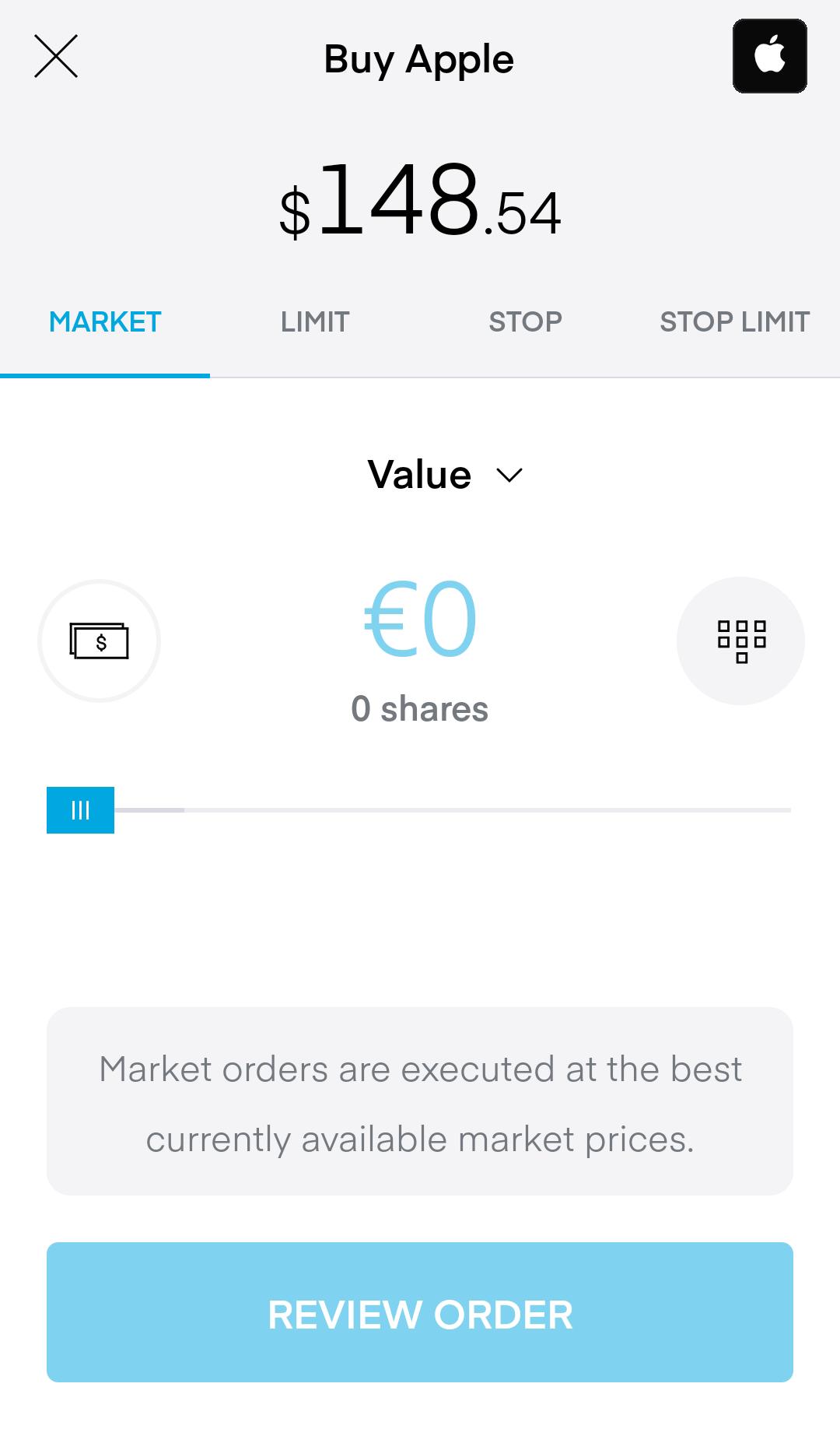 Recensione di Trading 212 - Piattaforma di trading mobile - Pannello degli ordini