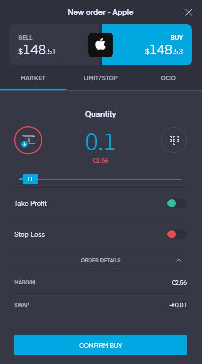 Recensione di Trading 212 - Piattaforma di trading web - Pannello degli ordini