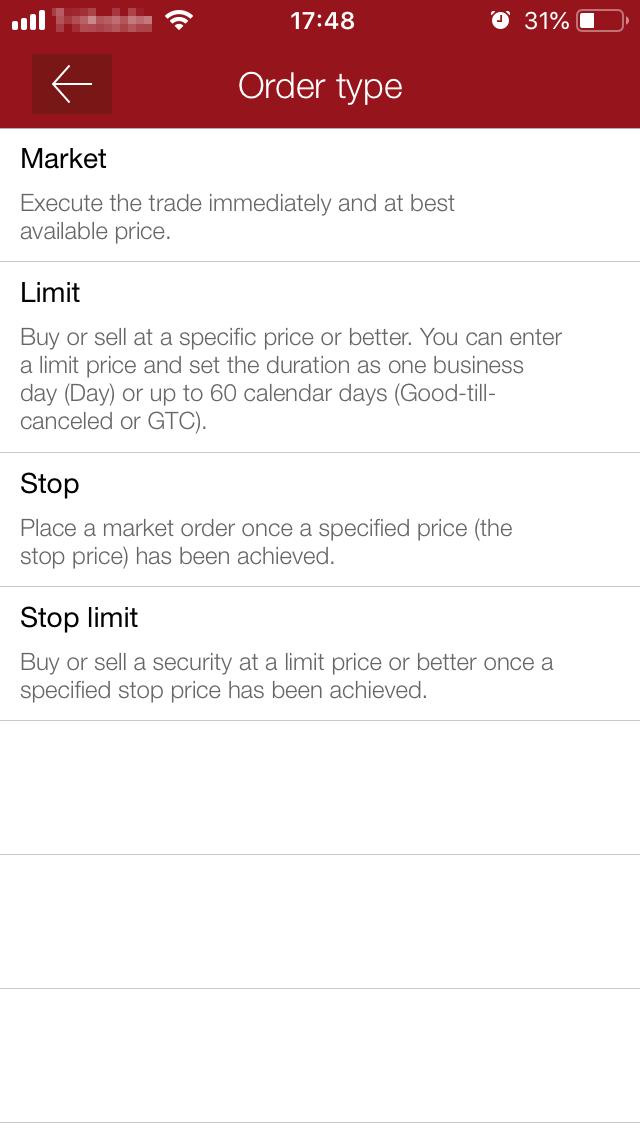 Vanguard review - Mobile trading platform - Order panel