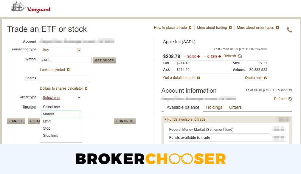 Vanguard review - Web trading platform - Order panel