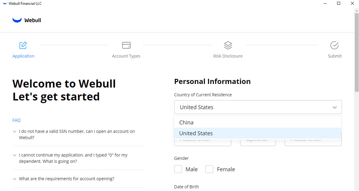 Webull review - Account opening
