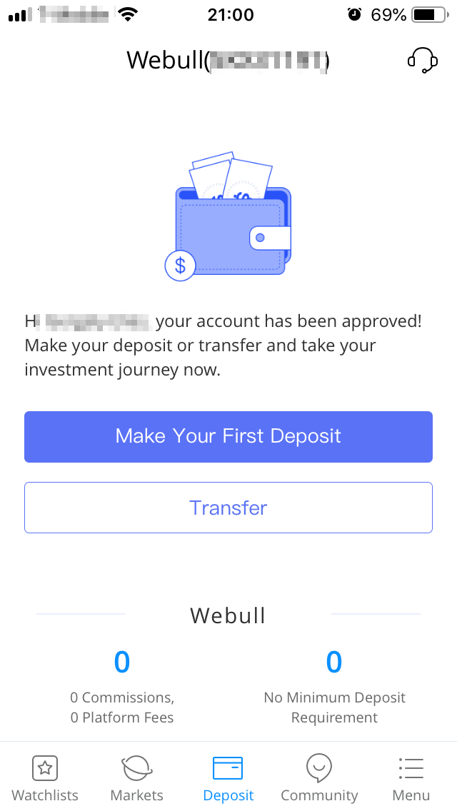 Webull review - Deposit and withdrawal - Deposit