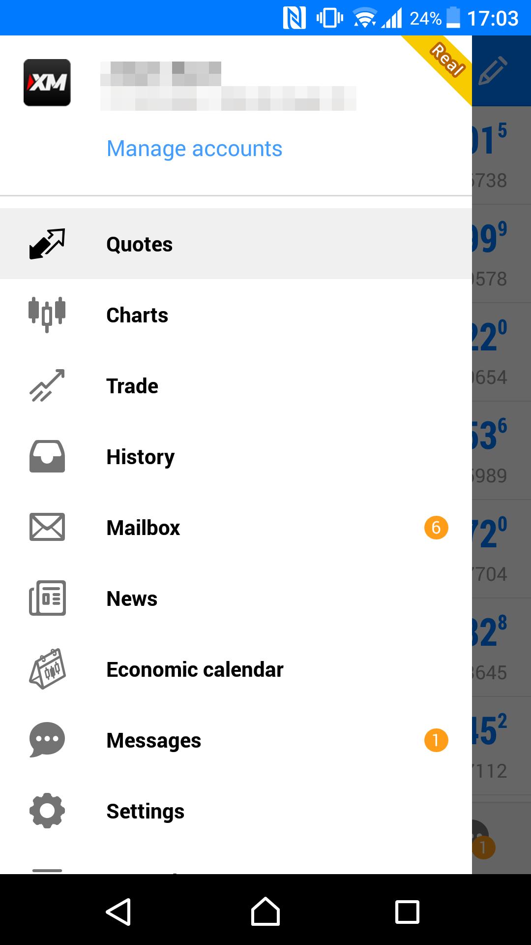XM review - Mobile trading platform