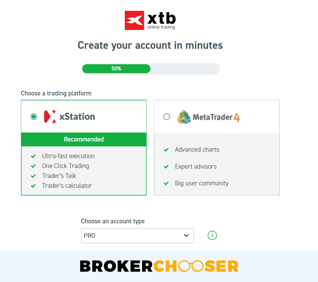 XTB review - Account opening - Account types