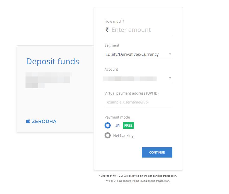 Zerodha review - Deposit and withdrawal - Deposit