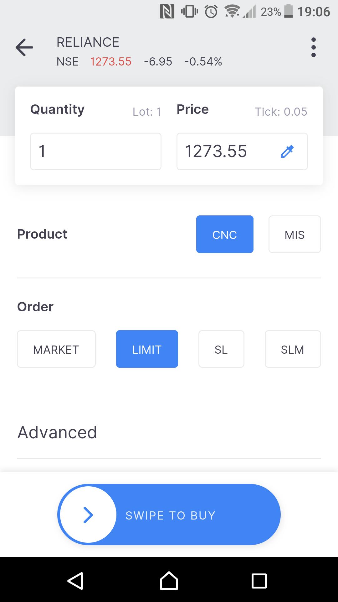 Zerodha review - Mobile trading platform - Order panel