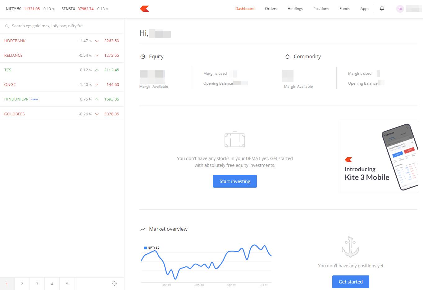 Zerodha review - Web trading platform