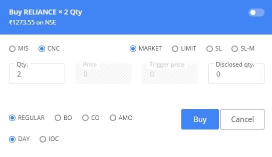 Zerodha review - Web trading platform - Order panel