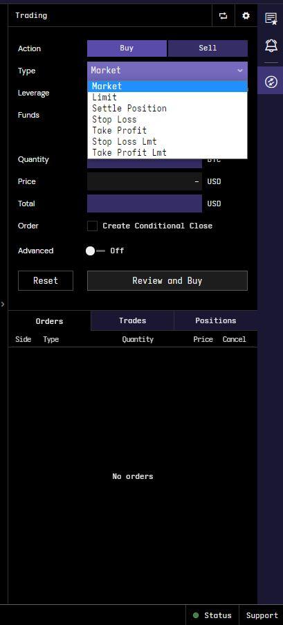 Kraken review - Web trading platform - Pro order types