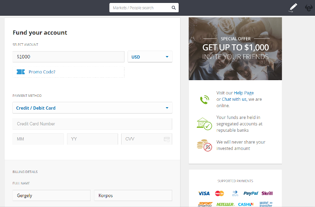 Etoro review: money transfer at etoro - a screenshot