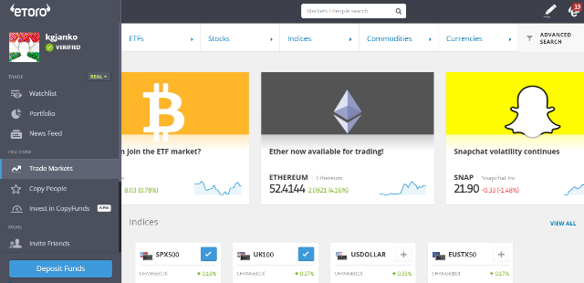 Etoro review: Screenshot of Etoro's product portfolio