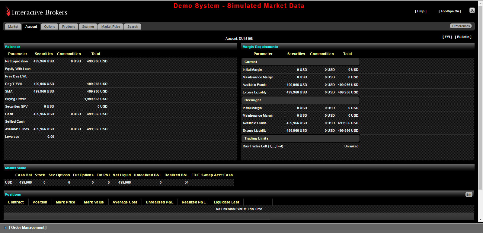 One of the Best CFD Trading Platforms: A Screenshot of the Web Platform of Interactive Brokers