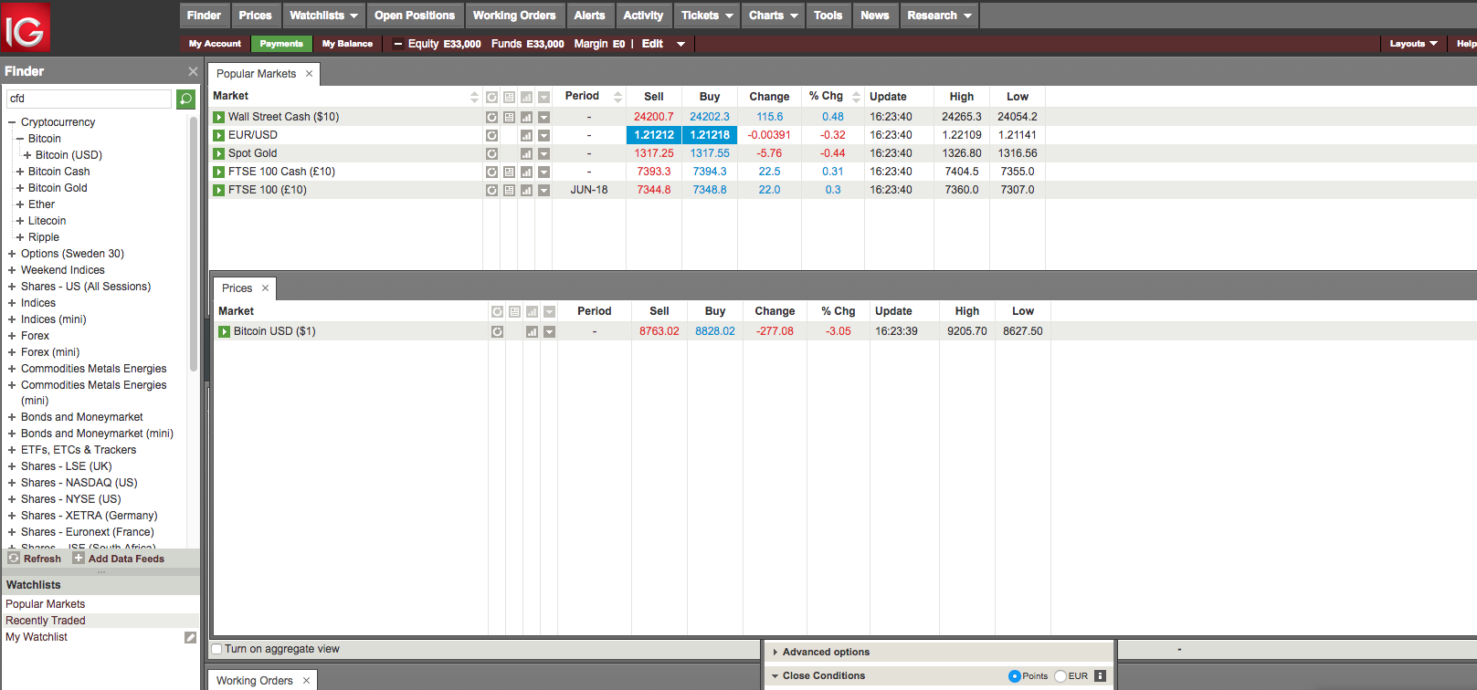 ESMA CFD intervention new regulation - Interactive Brokers - Web trading platform