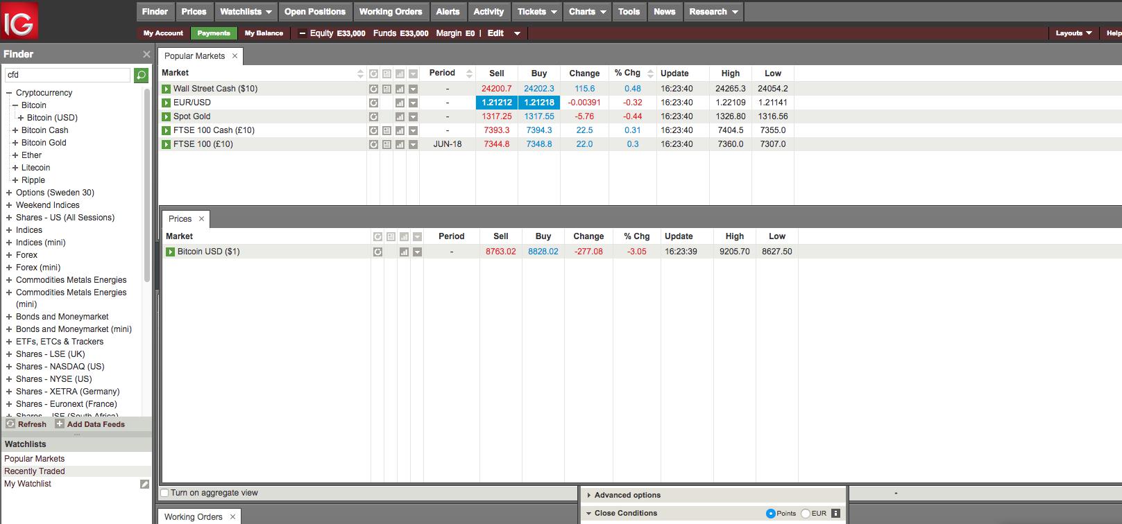 CFD trading tips - IG - Web trading platform