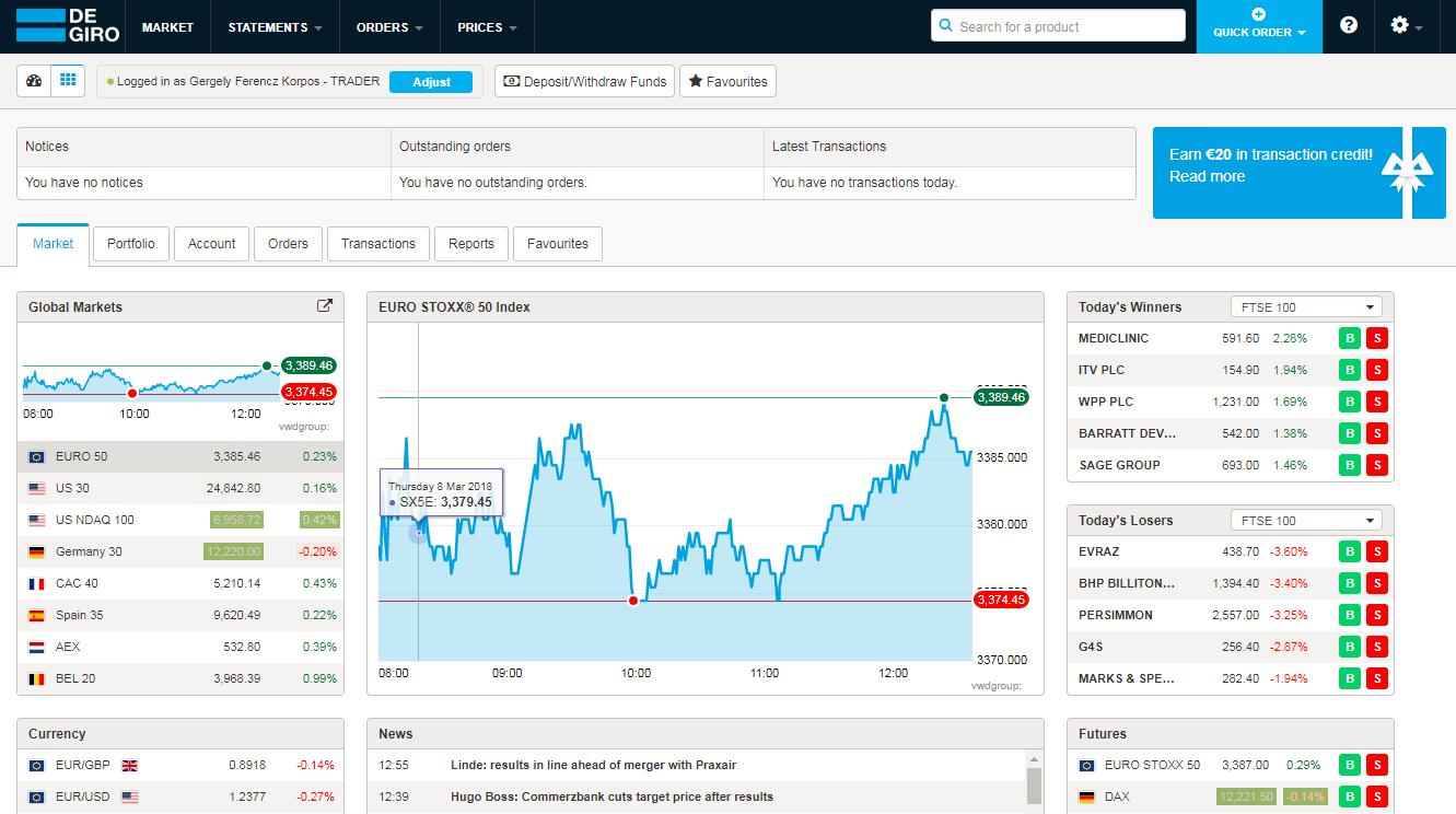 How to become a trader - Degiro - Web trading platform