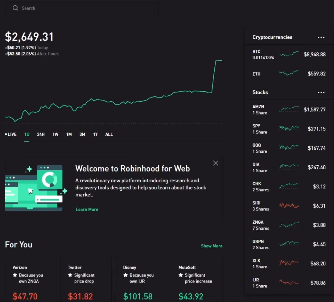 How to invest in stocks - Robinhood web trading platform