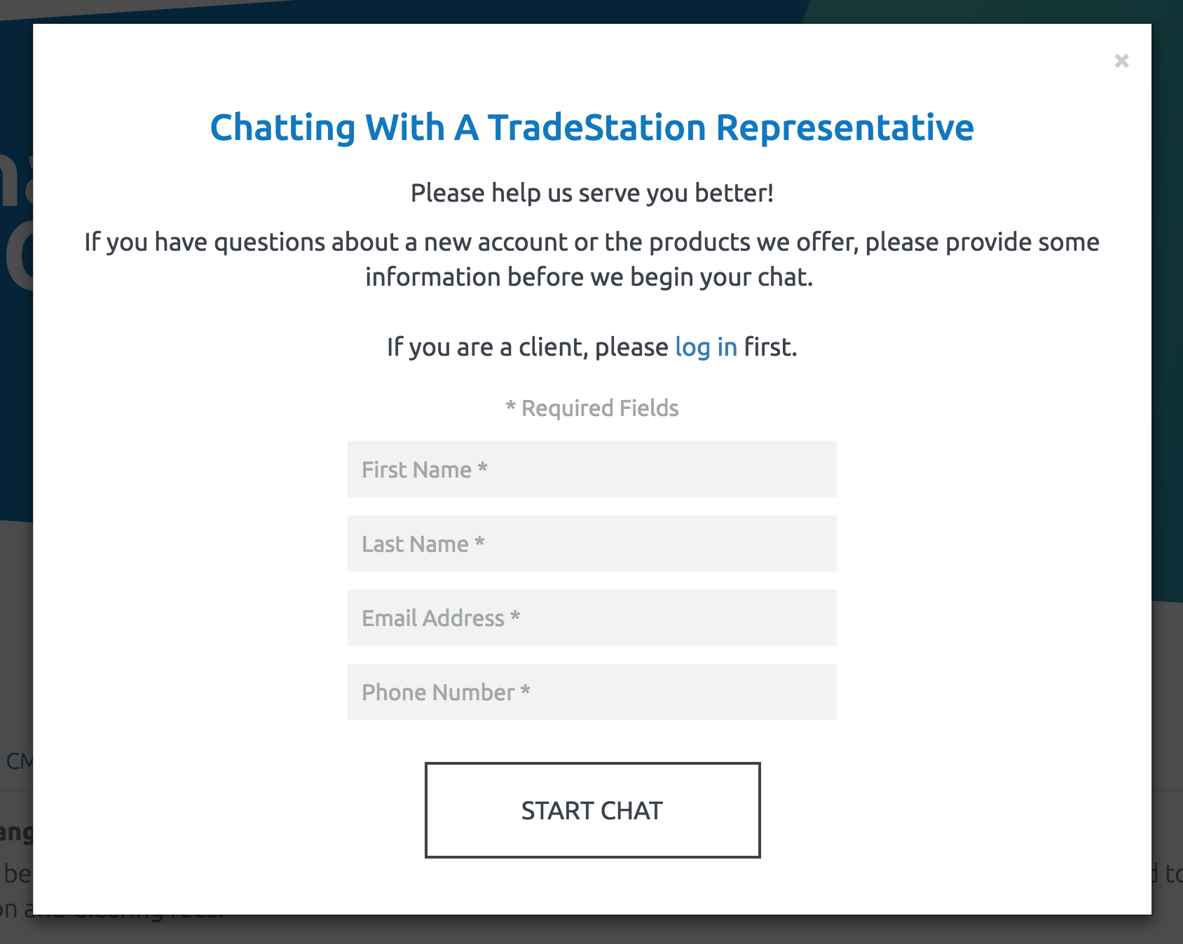 tradestation-review-customer-service online chat welcome page